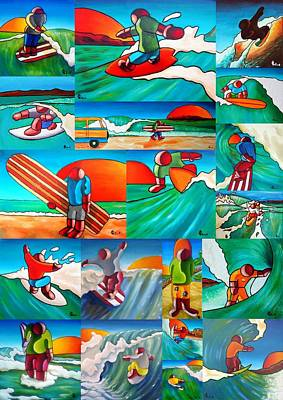 Painting - Surfing by Olivier Longuet