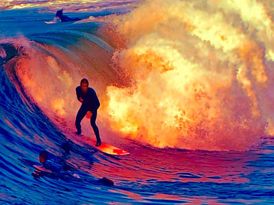Abstract Beach Landscape Painting - Surfing On A Sea Of Flames by Elaine Plesser