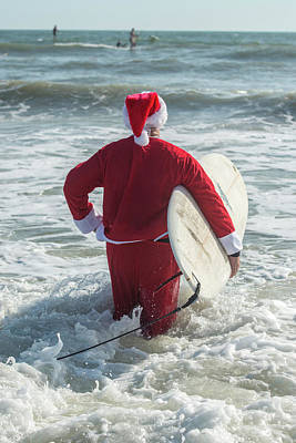 Christmas Eve Photograph - Surfing Santas, Surfboards, Cocoa by Jim Engelbrecht