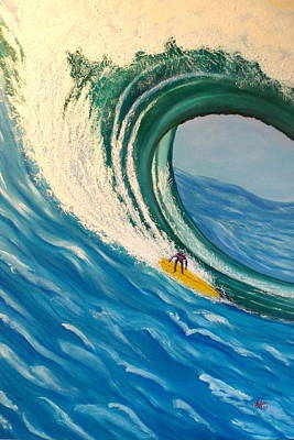 Painting - Surfing The Gigantic Wave  by Kathern Welsh