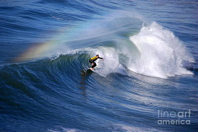 Surfing Under A Rainbow Art Print by Catherine Sherman