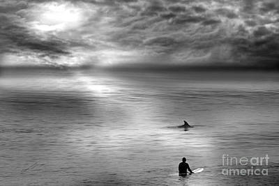 Surfing With The Dolphin Art Print by Artist and Photographer Laura Wrede