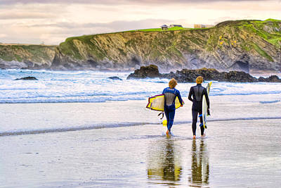 Great Britain Photograph - Surfing Zen - Cornish Beach In Newquay by Mark E Tisdale