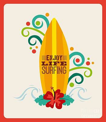 Sunshine Wall Art - Digital Art - Surfing Zone Graphic Design , Vector by Gst