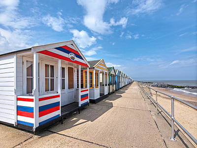 Surf's Up - Colorful Beach Huts Art Print by Gill Billington