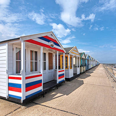 Surf's Up - Colorful Beach Huts - Square Art Print by Gill Billington