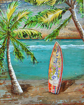 Folk Art Mixed Media - Surf's Up by Danny Phillips