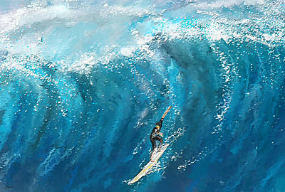 Abstract Seascape Art Painting - Surf's Up- Surfing Art by Lourry Legarde
