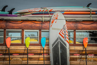 Surfs Up - Vintage Woodie Surf Bus - Florida Art Print