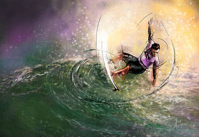 Extreme Sports Painting - Surfscape 01 by Miki De Goodaboom