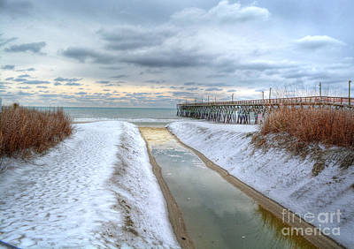 Surfside Beach Pier Ice Storm Art Print