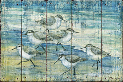Sandpiper Painting - Surfside Sandpipers - Distressed by Paul Brent