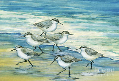 Sandpiper Painting - Surfside Sandpipers by Paul Brent