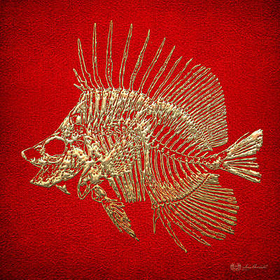 Surgeonfish Skeleton In Gold On Red  Original by Serge Averbukh