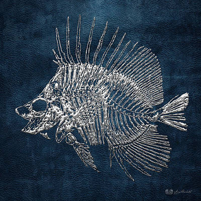Surgeonfish Skeleton In Silver On Blue  Original by Serge Averbukh