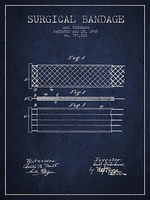 Surgical Bandage Patent From 1905- Navy Blue Art Print
