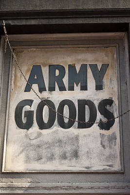 Window Signs Photograph - Surplus Army Goods by Art Block Collections