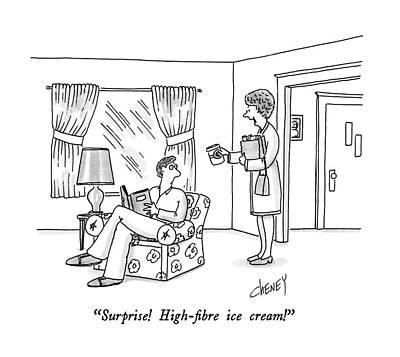Surprise!  High-fibre Ice Cream! Art Print by Tom Cheney