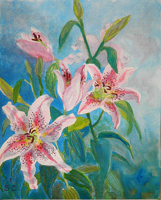 Painting - Surprise Star Lillies by Sharon Casavant
