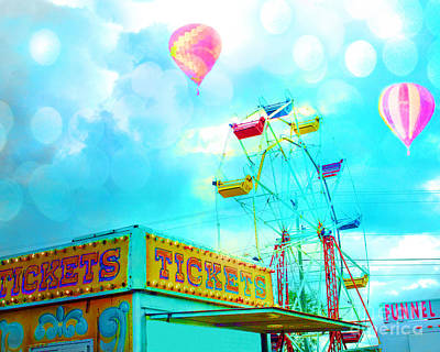Festival Photograph - Surreal Aqua Teal Carnival Tickets Booth With Ferris Wheel And Hot Air Balloons - Carnival Fair Art by Kathy Fornal
