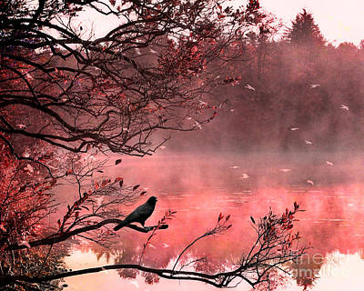 Fantasy Art Nature Photograph - Surreal Autumn Fall Orange Nature Tree Landscape - Haunting Raven Autumn Fall Landscape Nature  by Kathy Fornal