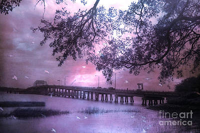 Surreal Beaufort South Carolina Nature And Bridge  Art Print by Kathy Fornal