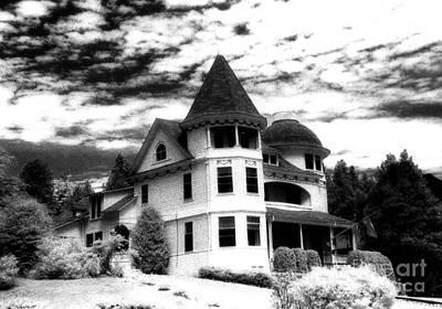 Surreal Black White Mackinac Island Michigan Infrared Victorian Home Art Print