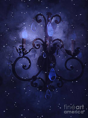 Surreal Blue Purple Chandelier Night Against Starry Blue Sky - Fantasy Blue Chandelier Art Art Print by Kathy Fornal