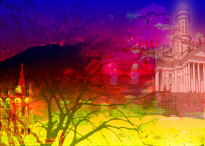 Art Print featuring the digital art Surreal Buildings  by Cathy Anderson