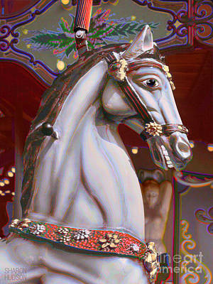 Photograph - surreal carousel horse - Gritty Grey by Sharon Hudson