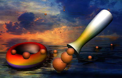 Surrealism Royalty-Free and Rights-Managed Images - Surreal Dinner Served Over the Ocean by Angela Stanton