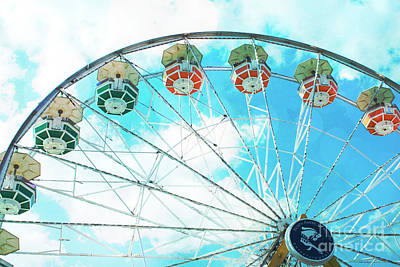 Photograph - Dreamy Ferris Wheel Baby Blue Sky Boy Carnival  Ferris Wheel Art - Baby Blue Nursery Ferris Wheel  by Kathy Fornal