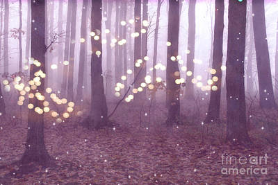 Surreal Dreamy Nature Photograph - Surreal Dreamy Fairy Lights Ethereal Pink Lavender Woodlands Twinkling Lights Fantasy Nature  by Kathy Fornal