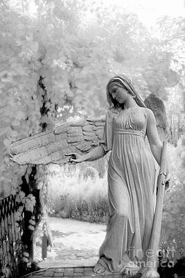 Dreamy Angel Art Photograph - Surreal Dreamy Fantasy Infrared Angel Nature by Kathy Fornal