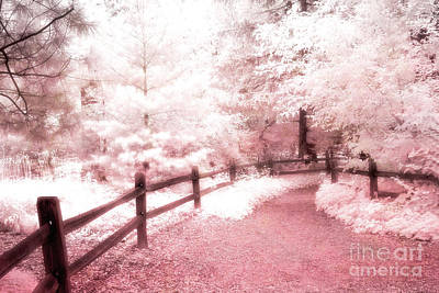 Photograph - Surreal Dreamy Fantasy Pink Infrared Path Fence Landscape by Kathy Fornal