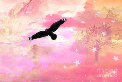 Nature Scene Photograph - Surreal Dreamy Fantasy Ravens Pink Sky Scene by Kathy Fornal