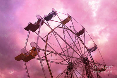 Surreal Pink Carnival Photograph - Surreal Hot Pink Ferris Wheel Pink Sky - Carnival Art Baby Girl Nursery Decor by Kathy Fornal