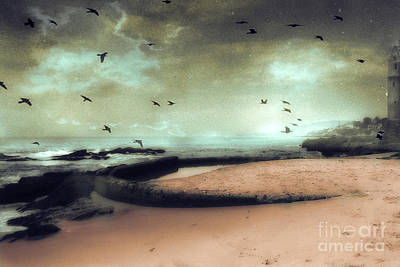 Surreal Dreamy Ocean Beach Birds Sky Nature Print by Kathy Fornal