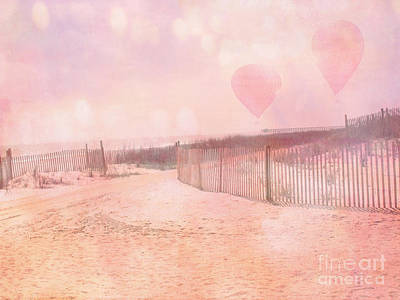 Photograph - Surreal Dreamy Pink Coastal Summer Beach Ocean With Balloons by Kathy Fornal