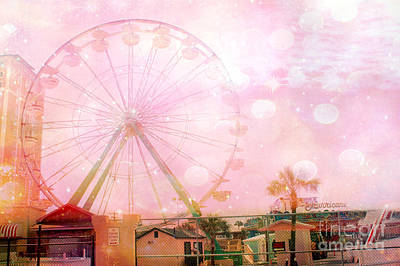 Pink Of Carnival And Festivals Ferris Wheels Photograph - Surreal Dreamy Pink Myrtle Beach Ferris Wheel by Kathy Fornal