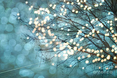 Surreal Dreamy Aqua Teal Fairylights Fantasy Sparkling Aqua Teal Blue Bokeh Nature Trees Art Print by Kathy Fornal