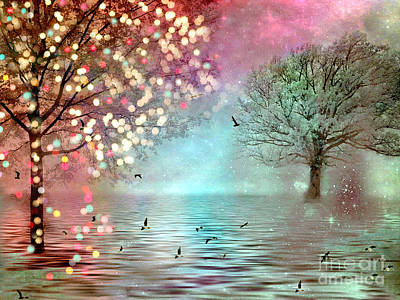 Surreal Dreamy Twinkling Fantasy Sparkling Nature Trees Art Print by Kathy Fornal