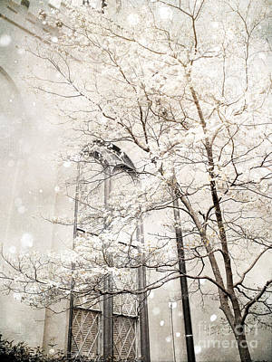 Surreal Nature Photograph - Surreal Dreamy Winter White Church Trees by Kathy Fornal