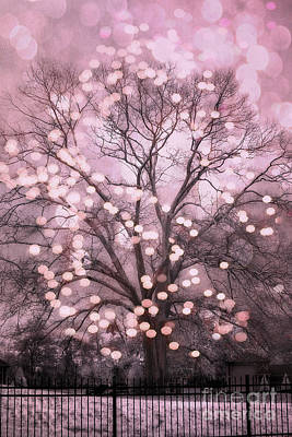 Surreal Dreamy Nature Photograph - Surreal Fairytale Pink Nature Trees Fairy Lights Bokeh Nature Decor - Pink Holiday Fairy Lights Tree by Kathy Fornal