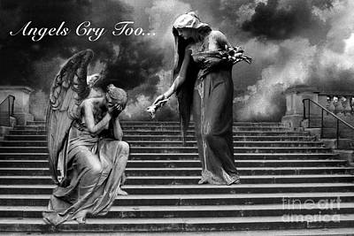 Surreal Fantasy Angel Art Black And White - Angels Cry Too Art Print by Kathy Fornal