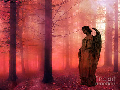 With Photograph - Surreal Fantasy Angel In Foggy Red Woodlands by Kathy Fornal