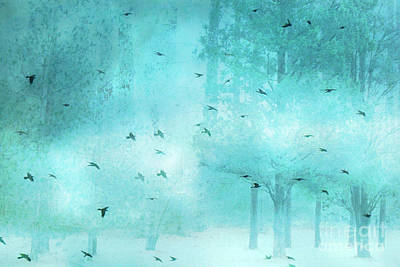 Surreal Fantasy Aqua Blue Teal Trees With Flying Birds Print by Kathy Fornal