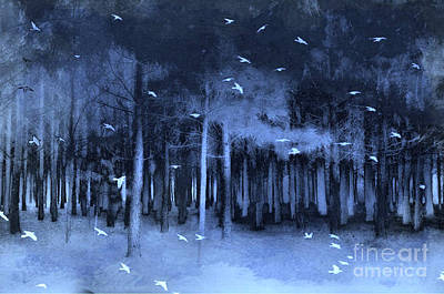 Surreal Fantasy Blue Woodlands Nature With Birds Art Print by Kathy Fornal