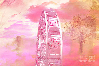 Festival Art Photograph - Surreal Fantasy Carnival Festival Fair Pink Yellow Ferris Wheel  by Kathy Fornal