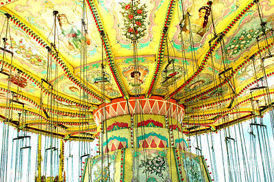 Cotton Candy Photograph - Surreal Fantasy Carnival Festival Fair Yellow Ferris Wheel Swing Ride  by Kathy Fornal